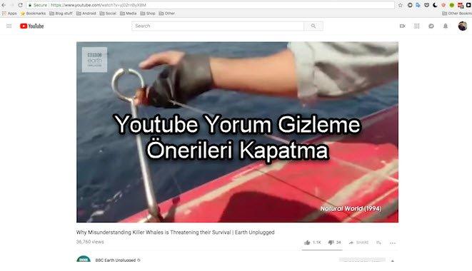Youtube Yorum Gizleme Önerileri Kapatma