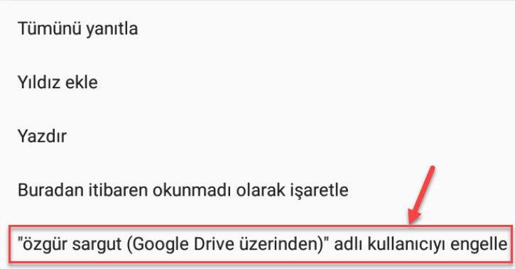 android gmail kişiler nasıl engellenir