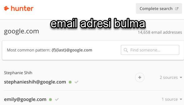 email adresi nasıl bulunur