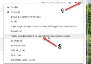 gmail kişi engelleme