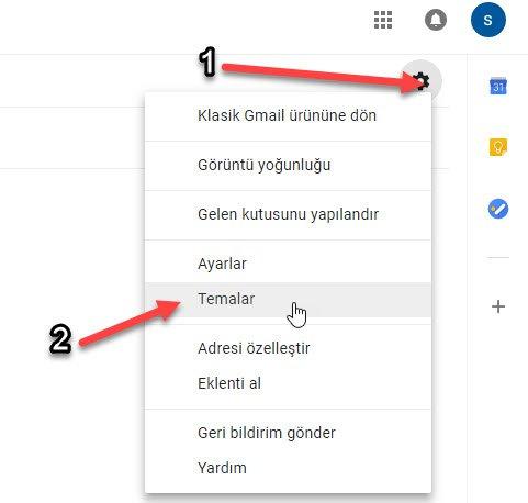 gmail tema değiştirme