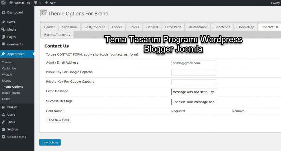wordpress Tema hazırlama programı