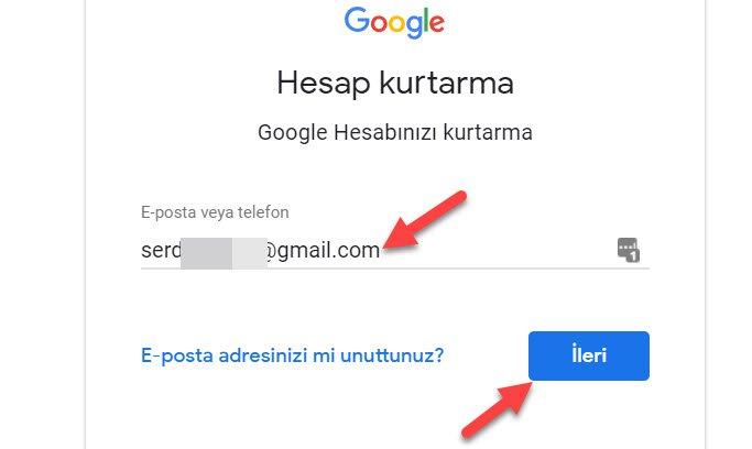 Çalınan Gmail Geri Almak İçin