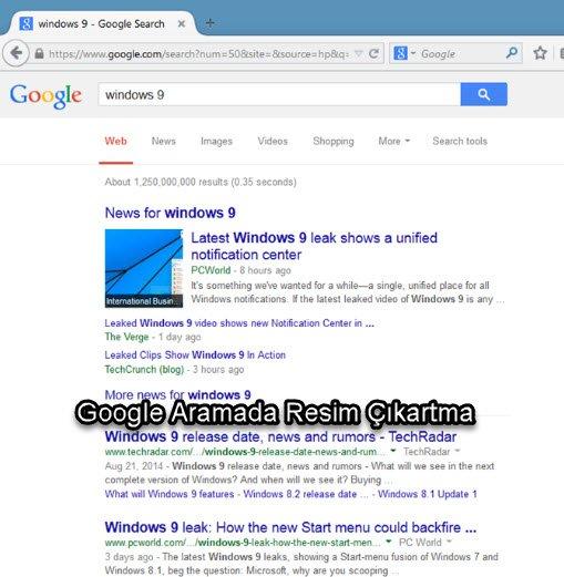 Google Aramada Resim Çıkartma sonuçlarda fotoğraf nasıl gösterilir