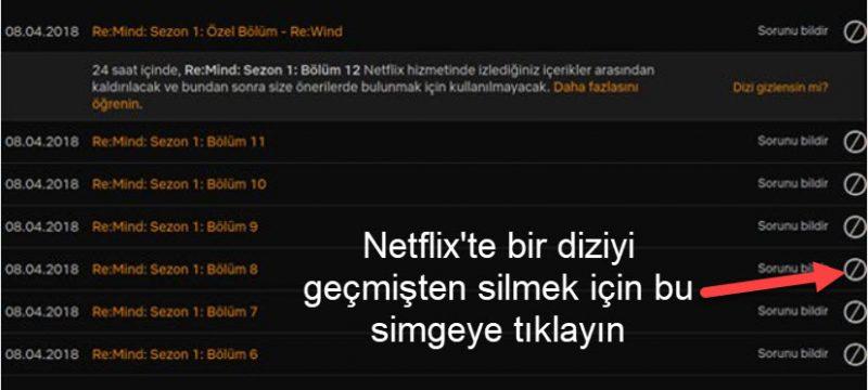 Netflix'te bir diziyi geçmişten silmek için bu simgeye tıklayın