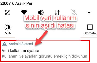 Mobil veri kullanım sınırı aşıldı hatası