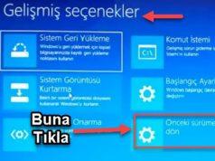 Windows Eski Sürümü Geri Yüklemek Windows 10'an Windows 7'ye geri dönme