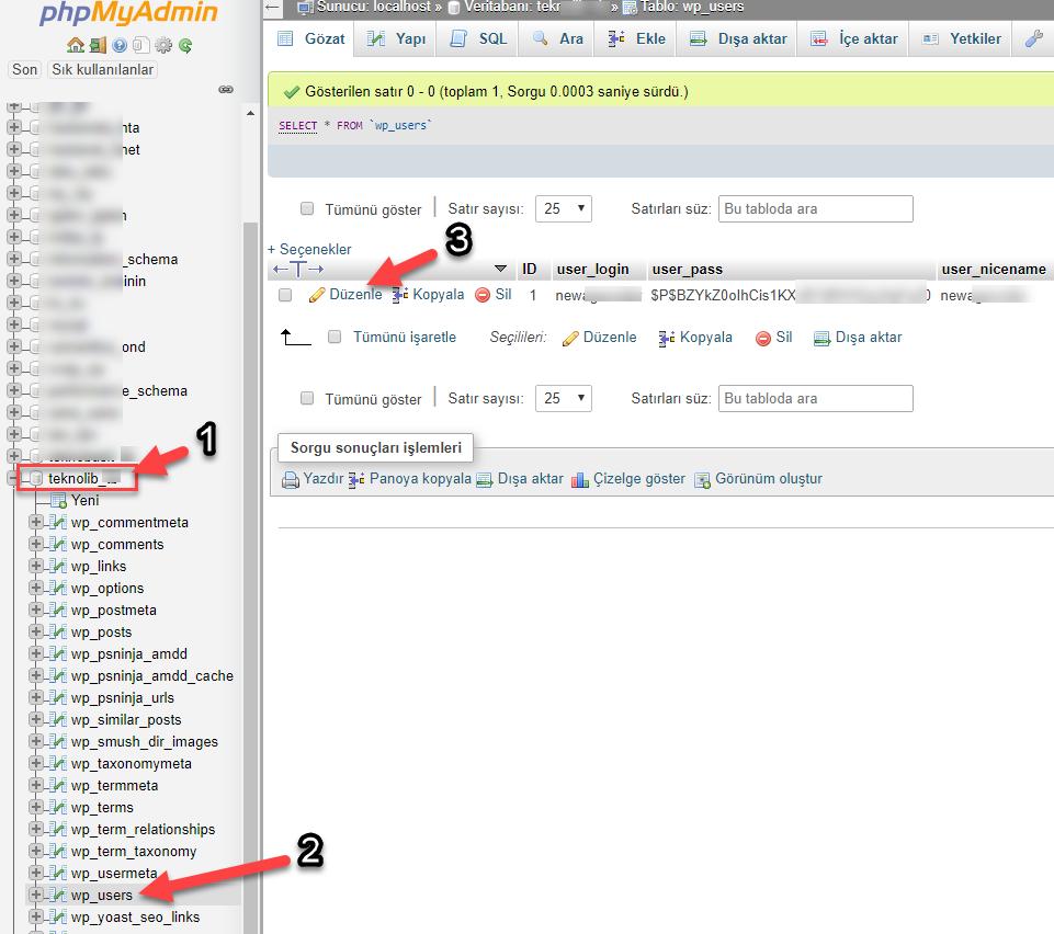 Wordpress Şifre Sıfırlama phpmyadmin