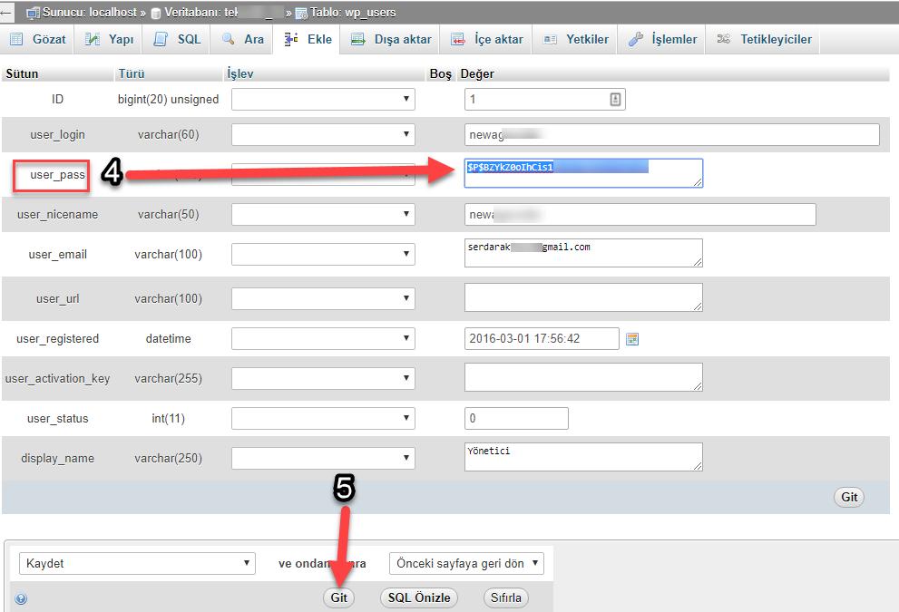 Wordpress phpmyadmin ile şifre nasıl sıfırlanır