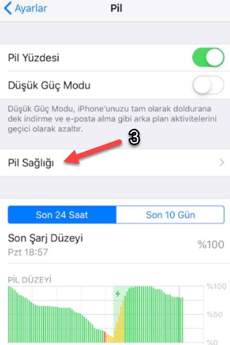 iPhone X Pil Sağlığı durumunu gösterme