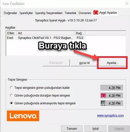 mousepad ayarları sıfırlama