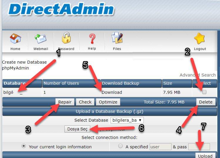 mySQL Veritabanı oluşturma directadmin üzerinden nasıl açılır