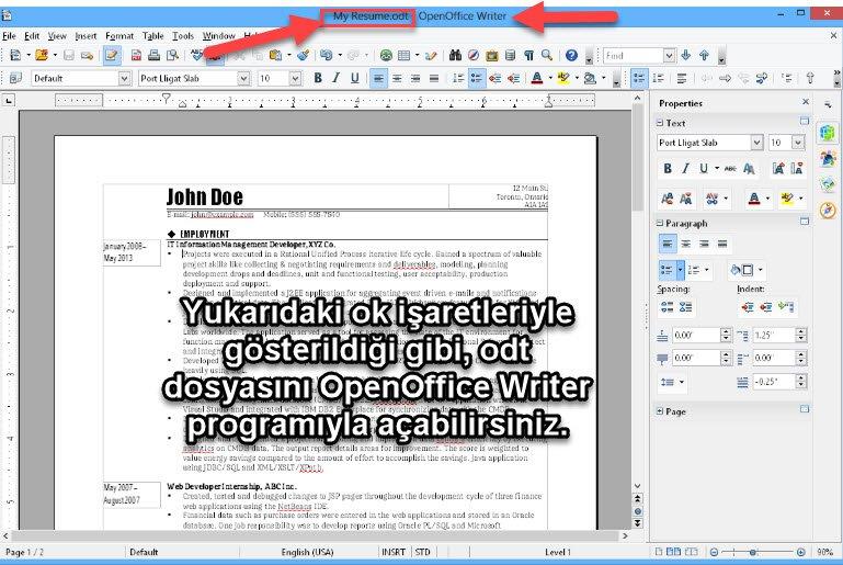 odt dosyasını açan programlar
