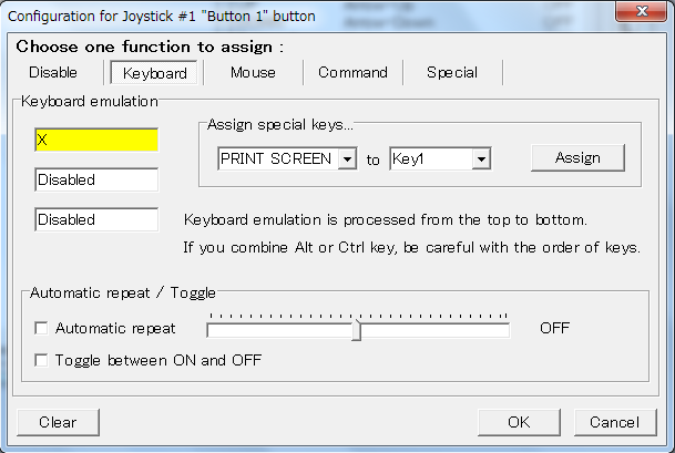 Joy2Key: Joystick button 1 is assigned to a key 'X'