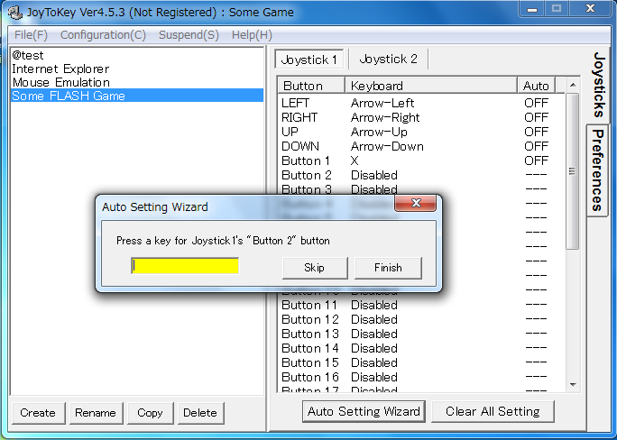 Joy2Key: configure key assignments for gamepad's buttons in sequence