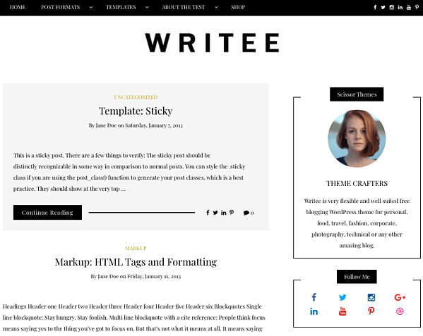 Writee Tyopgraphy demo with a right sidebar and social media icons